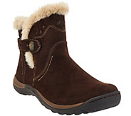 As Is Earth Origins Leather Ankle Boots w/ Faux Fur Trim - Karlene - A280939