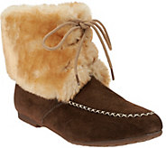 As Is Lamo Water Resistant Suede Lace-up Booties w/ Faux Fur - Wolcott - A281039