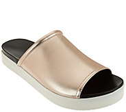 As Is H by Halston Leather Slide-On Platform Shoes - Martha - A283839