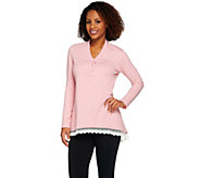 As Is LOGO Lounge by Lori Goldstein French Terry Trapeze Top - A284039