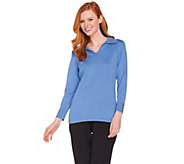 Susan Graver Rayon Nylon Split Neck Sweater with Button Trim - A285439