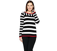 Susan Graver Striped Bateau Neck Sweater - A286739