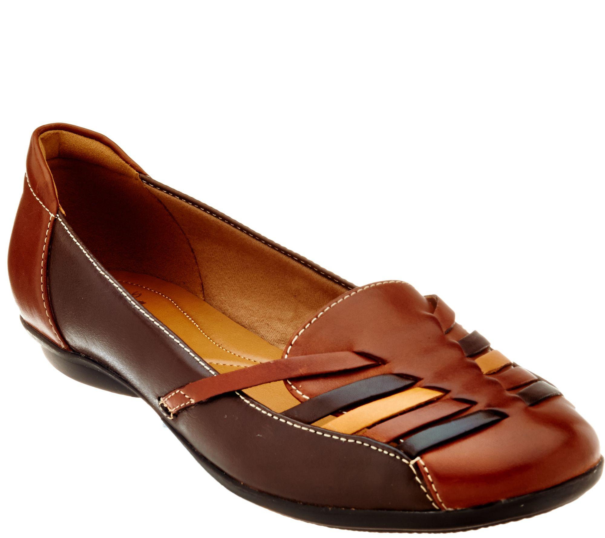 Clarks Leather Flats with Woven Detail - Gracelin Gemma - A287339