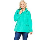Susan Graver Zip Front Anorak Jacket w/ Polka Dot Lining & Hood - A288739