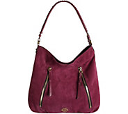 As Is orYANY Italian Suede Hobo with Zipper Details- Laurie - A288939