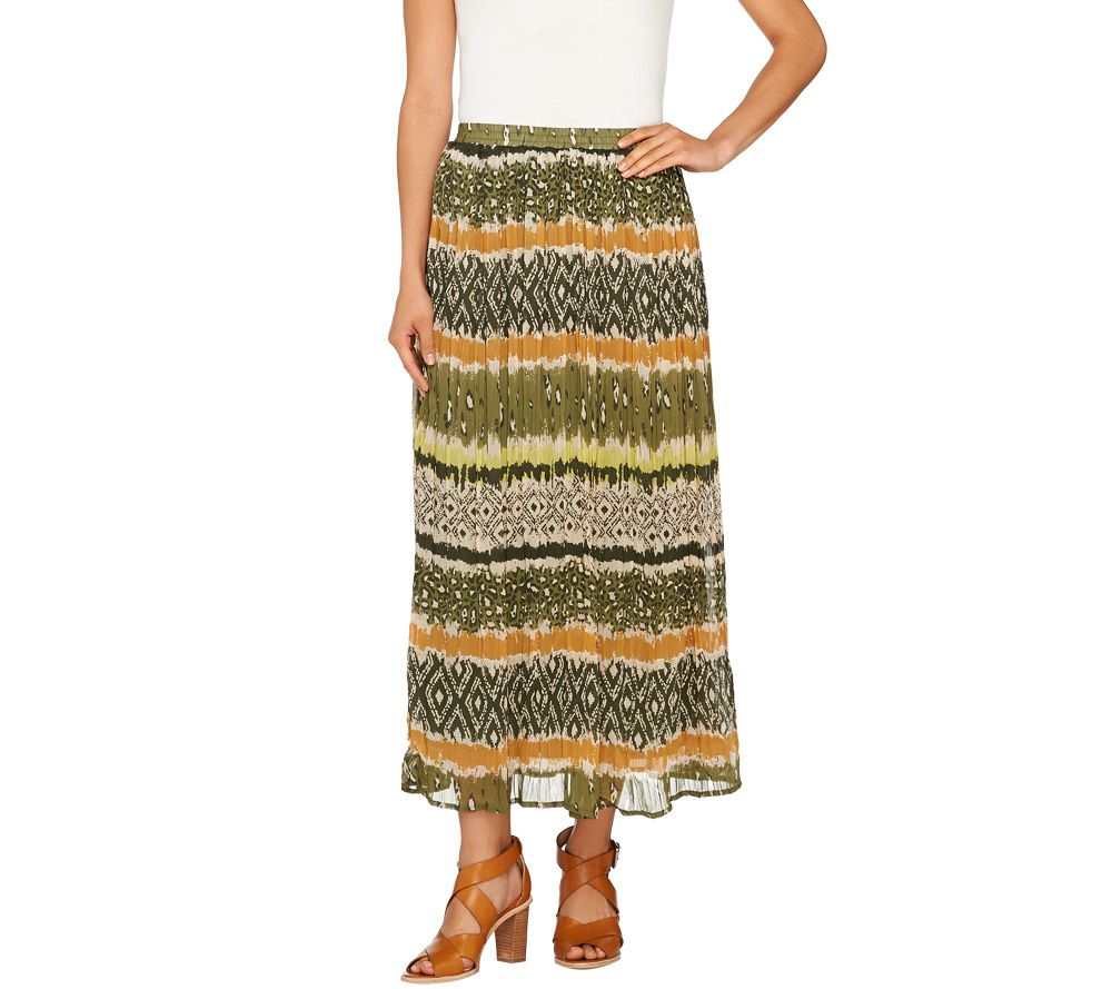 quot as is quot denim co printed crinkle gauze maxi skirt qvc