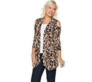 Susan Graver Printed Liquid Knit Cold Shoulder Cardigan - A293639