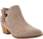 As Is Clarks Artisan Leather Stacked Heel Ankle Boots - Spye Astro - A294239