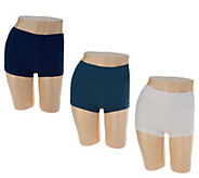 AnyBody Seamless Wide Waist Boyshort Panties Set of Three - A297439