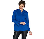 H by Halston Long Sleeve Stretch Poplin Button Front Shirt - A301939