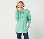 Denim & Co. Active Long Sleeve Crew Neck Top w/ Lace Up Detail - A303139