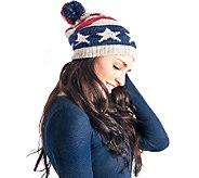 MUK LUKS Womens Americana Pom Beanie - A337639