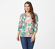 Denim & Co. Perfect Jersey 3/4 Sleeve Paisley Print T-shirt - A96639