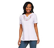 Denim & Co. Short Sleeve Embroidered Gauze Peasant Top - A200740