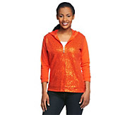 Quacker Factory 3/4 Sleeve Sequin Scroll Knit Jacket with Hood - A212940