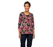 Denim & Co. Perfect Jersey 3/4 Sleeve Rose Print T-shirt - A216540