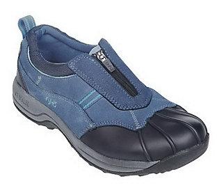 Ryka Water Resistant Suede Sneakers with Front Zip