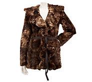 Dennis Basso Tie-Dye Faux Fur Ruffle Collar Coat w/ Belt - A229740