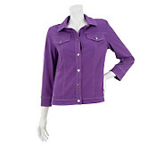 Bob Mackies Smart Denim Jacket with Contrast Stitch & Button Detail - A233340