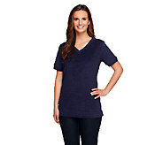 Denim & Co. Essentials Short Sleeve V-neck Knit Terry Top - A234240