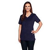Denim & Co. Essentials Short Sleeve V-neck Knit Terry Top - A234240
