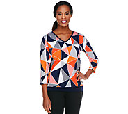 Susan Graver Liquid Knit 3/4 Sleeve Printed V-Neck Top - A240140