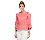 Joan Rivers Peplum Jacket with 3/4 Sleeves - A252740