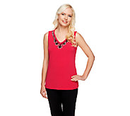 Susan Graver Liquid Knit Embellished V-Neck Tank Top - A255340