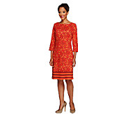Liz Claiborne New York Regular 3/4 Sleeve Print Knit Dress - A256440