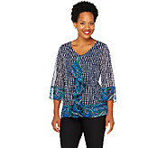 Isaac Mizrahi Live! Mixed Print 3/4 Sleeve Top - A257240