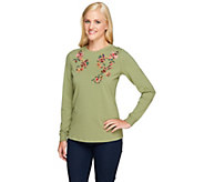 Denim & Co. Perfect Jersey Long Sleeve Top with Floral Embroidery - A257340