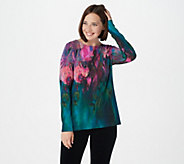 Bob Mackies Watercolor Print Pullover Top - A258140