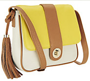 As Is Isaac Mizrahi Live! Bridgehampton Leather Crossbody - A260940