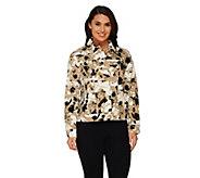 Liz Claiborne New York Floral Print Long Sleeve Jean Jacket - A261240