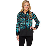 Bob Mackies Tribal Print Button Down Top with Point Collar - A263340