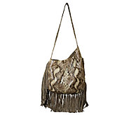 As Is Muxo by Camila Alves Leather & Suede Asymmetrical Hobo Bag - A264540