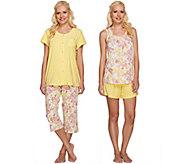 Carole Hochman Delicate Aurora Cotton Jersey 4-Piece Pajama Set - A264640