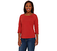 Denim & Co. Essentials Jersey 3/4 Sleeve Top w/ Curved Hem - A267840
