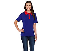 Denim & Co. Active Polo Shirt with Contrast Trim - A268240