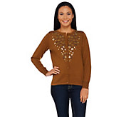 Bob Mackies Button Front Cardigan with Embroidery and Sequin Detail - A269540