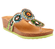 As Is White Mountain Beaded Thong Sandals - Blast - A270240