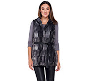 Dennis Basso Faux Fur Vest with Hood and Belt - A270640