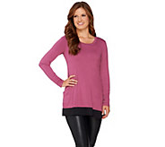 LOGO by Lori Goldstein Long Sleeve Knit Top with Charmeuse Trim - A271140