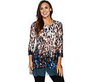 LOGO by Lori Goldstein Printed Knit Top with Lace Trim - A272840