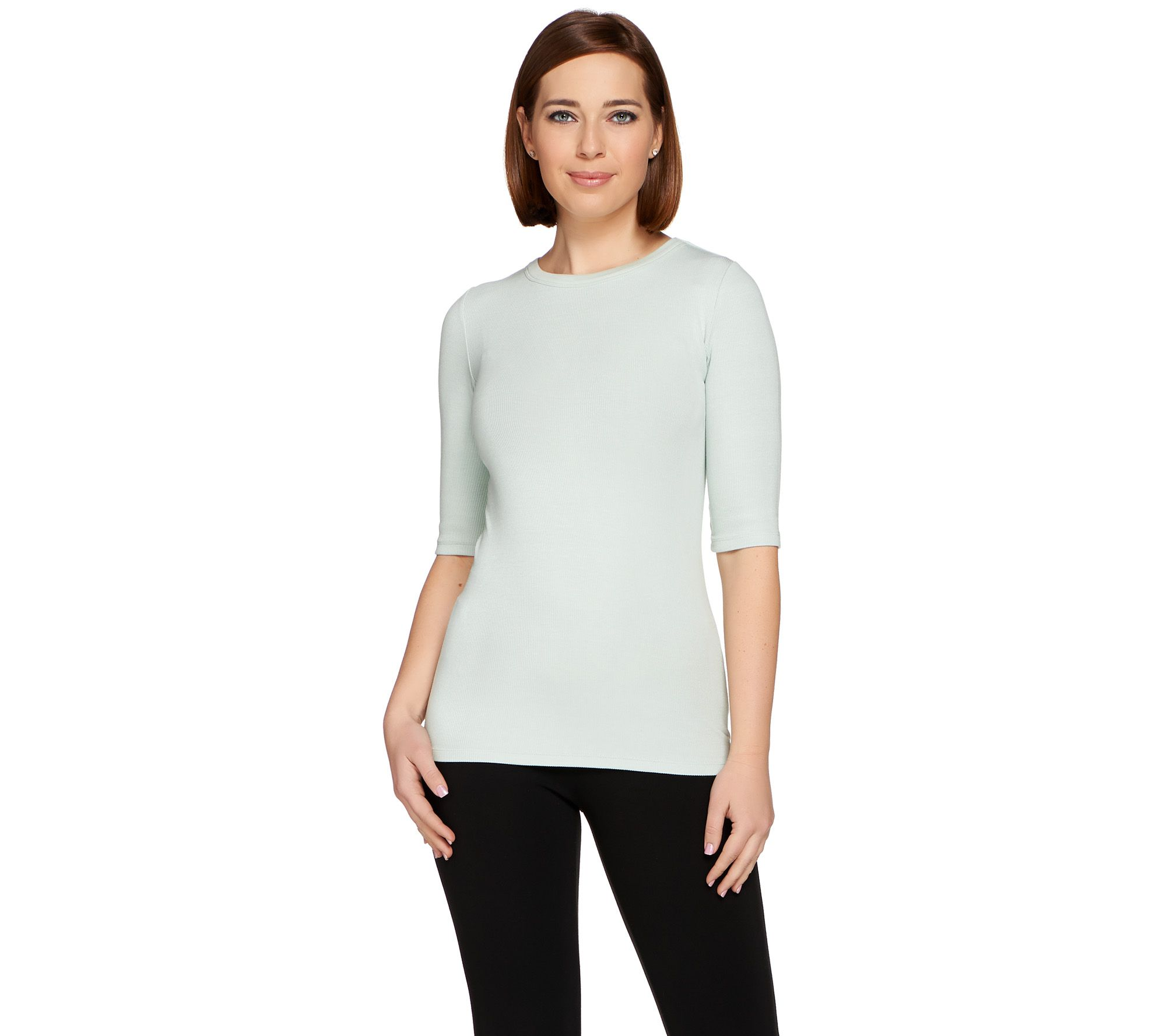 G.I.L.I. Ribbed Knit Elbow Sleeve Essentials T-shirt