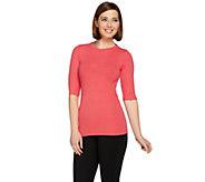 G.I.L.I. Ribbed Knit Elbow Sleeve Essentials T-shirt - A273440