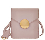 Isaac Mizrahi Live! Whitney Lamb Leather Crossbody w/ Circle Hardware - A274040
