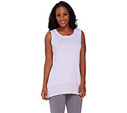 As Is LOGO by Lori Goldstein Sweater Knit Tank with Challis Details - A274640