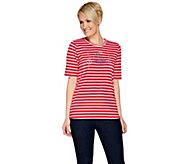 Quacker Factory Nautical Novelty Striped Elbow Sleeve T-shirt - A275440