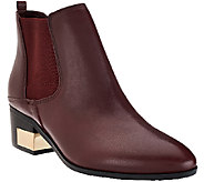 As Is Marc Fisher Leather Stacked Heel Chelsea Boots - Danton - A275640